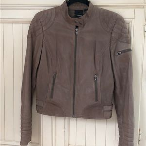 Trouve 100% brown leather Moto style jacket